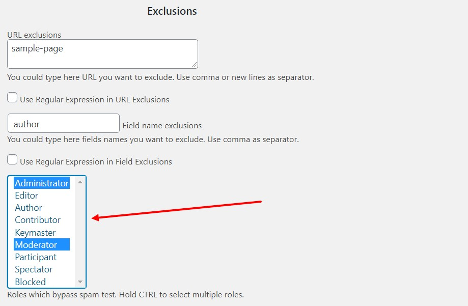 Exclusions by roles