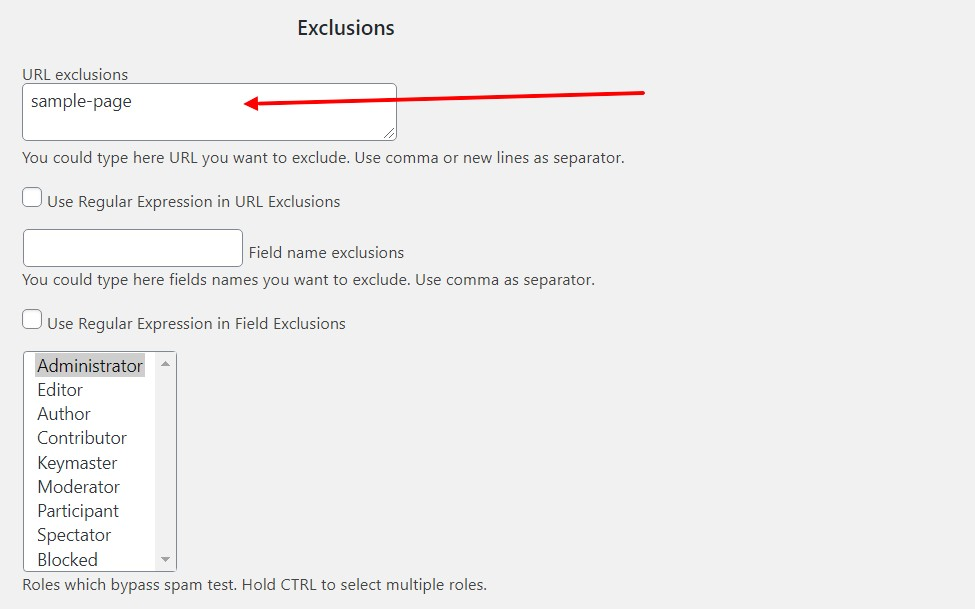 Exclusion by Url