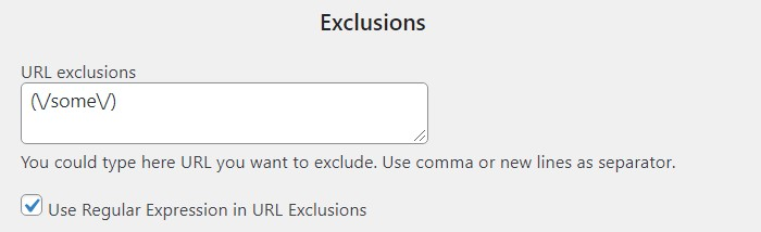 Exclusion by Url Regular 2