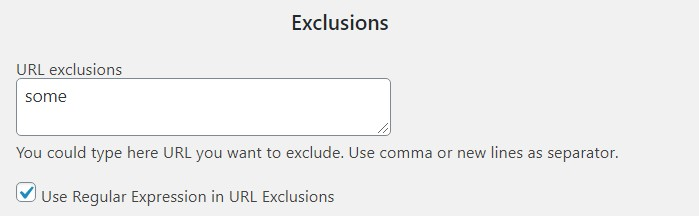 Exclusion by Url Regular