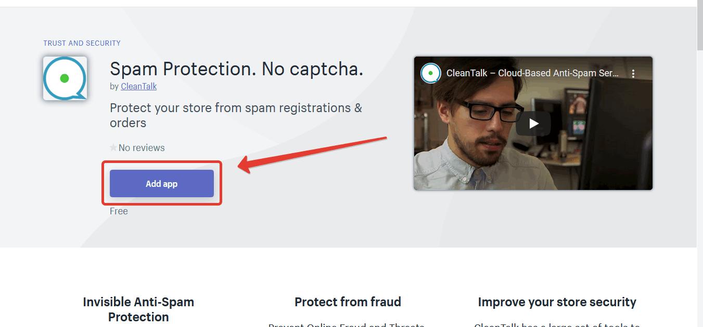 Страница анти-спам приложения CleanTalk