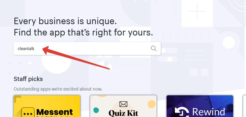 Поисковая строка в Shopify App Store