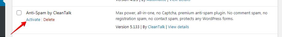 WordPress Anti-Spam plugin activation