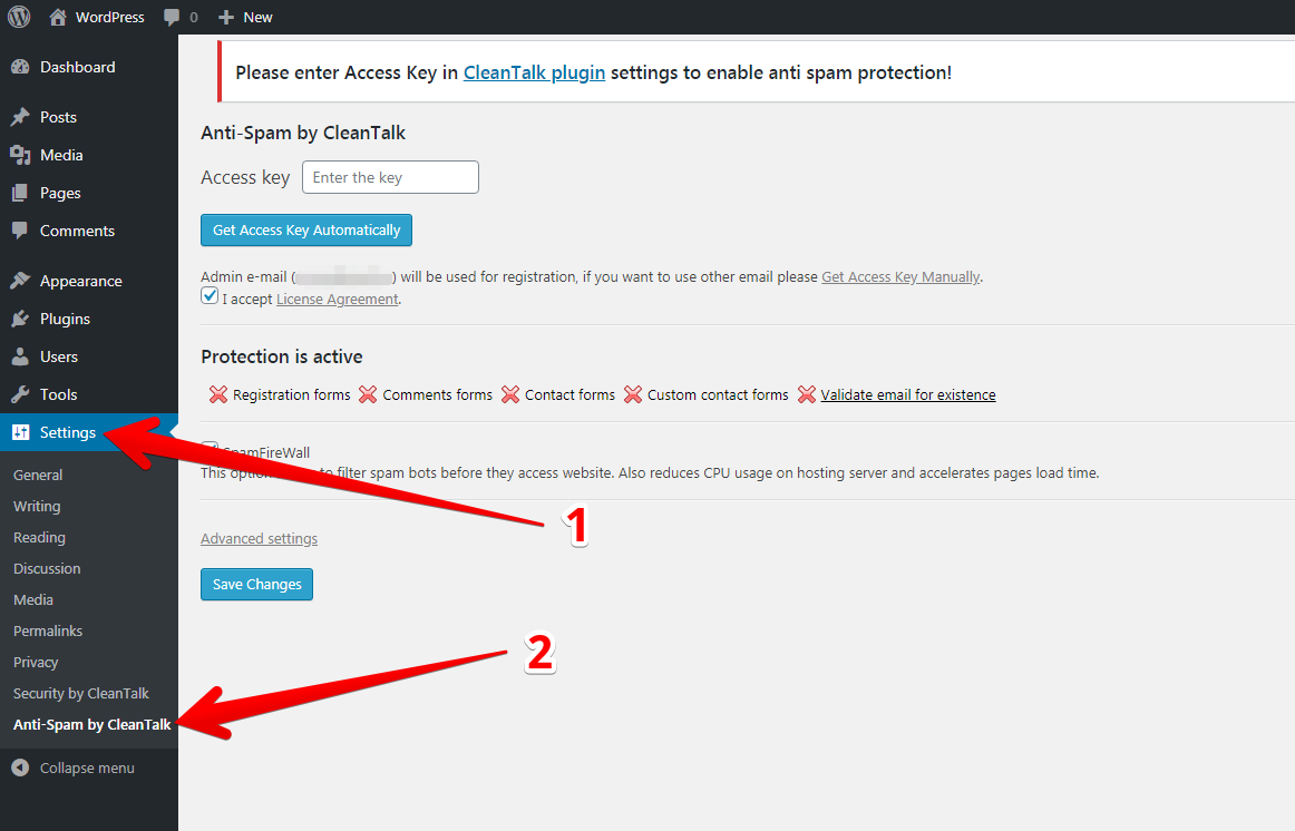 CleanTalk settings anti-spam