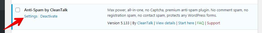 WordPress Anti-Spam plugin settings