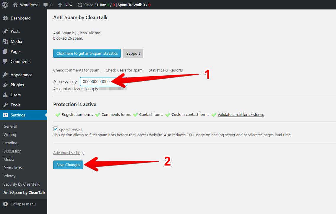 WordPress Anti-Spam plugin options