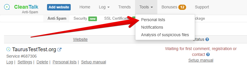 Control Panel Tools Personal Lists