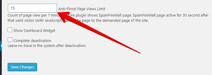 anti-flood option settings value number
