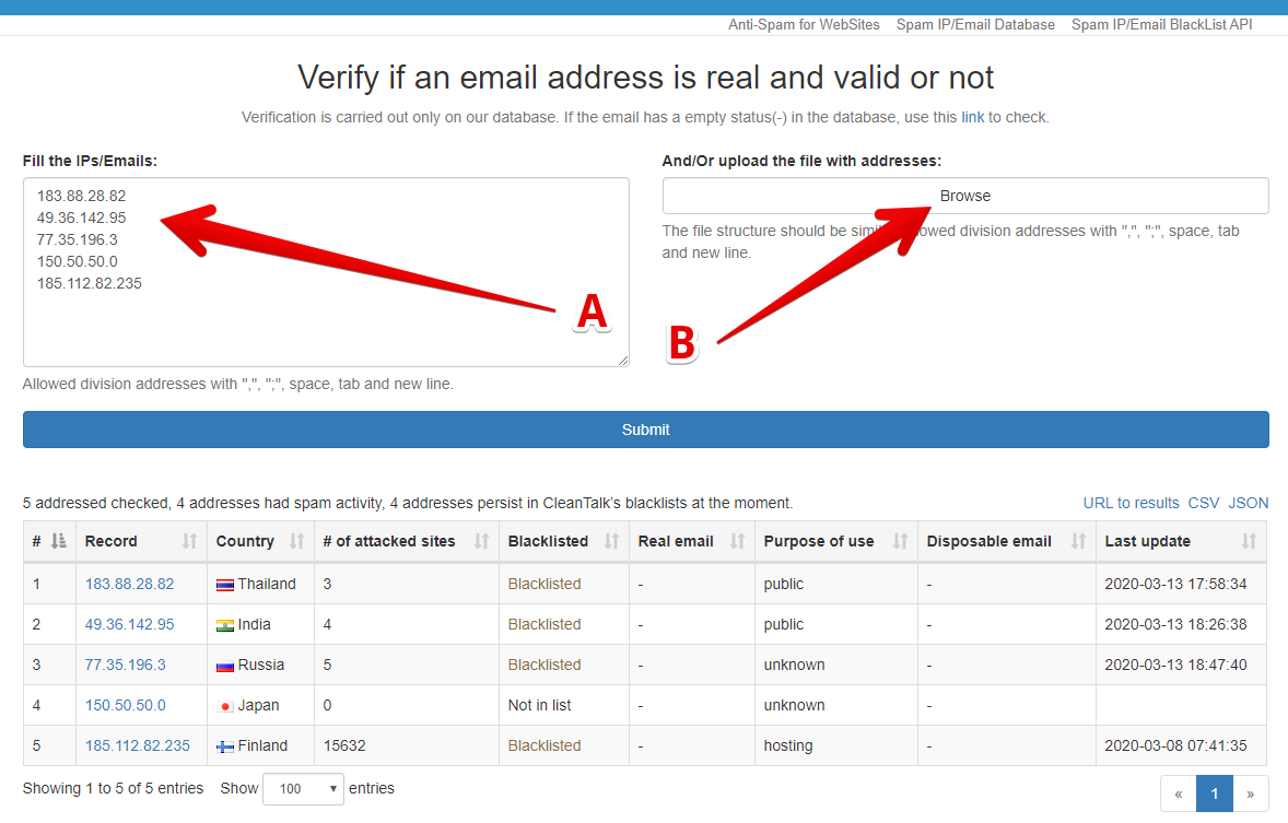 CleanTalk IPs emails bulk check interface