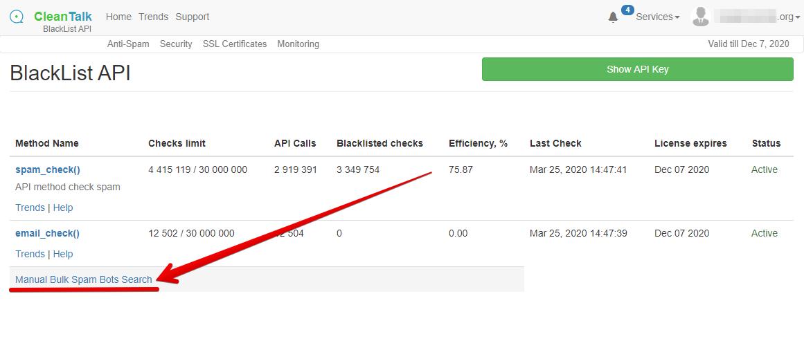 BlackList API Dashboard CleanTalk bulk spam bots search