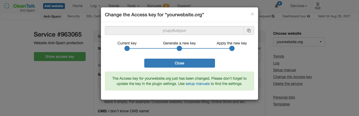 Changing your website access key