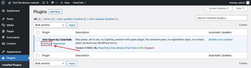 Connecting CleanTalk Pixel to your WordPress website