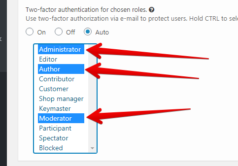 CleanTalk Security Two-Factor Authentication Option roles selection