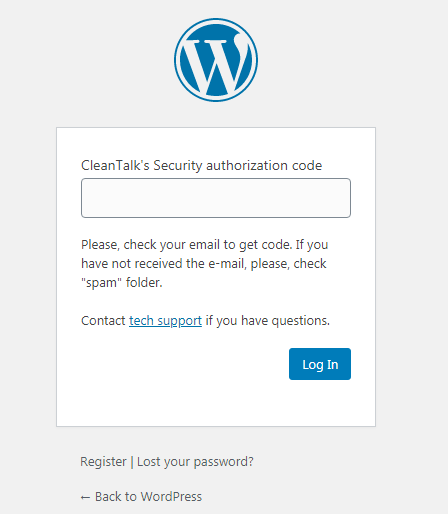 WordPress window two-factor code authorization