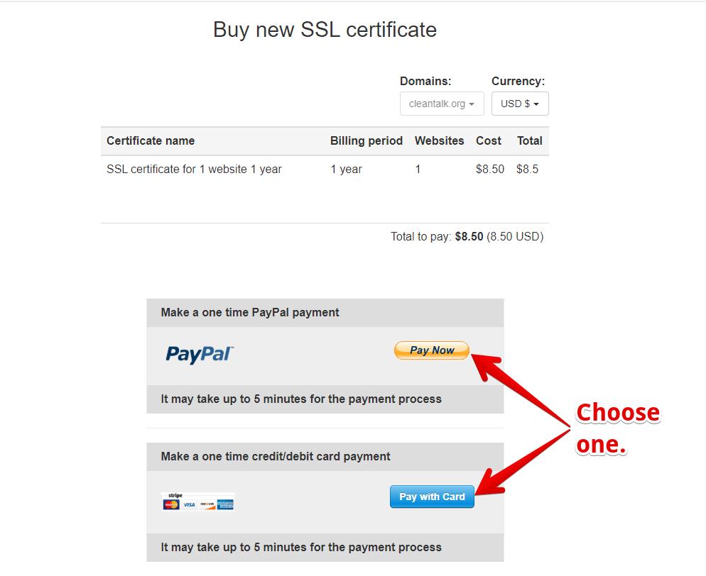 SSL Sertificate checkout