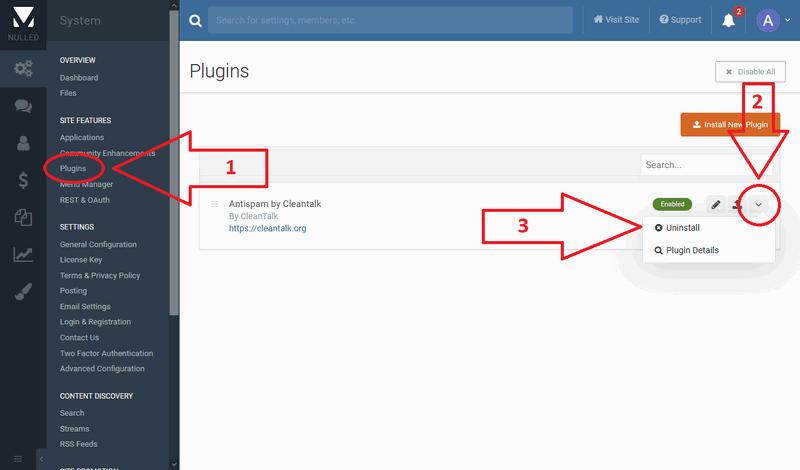IPS 4 anti-spam uninstall