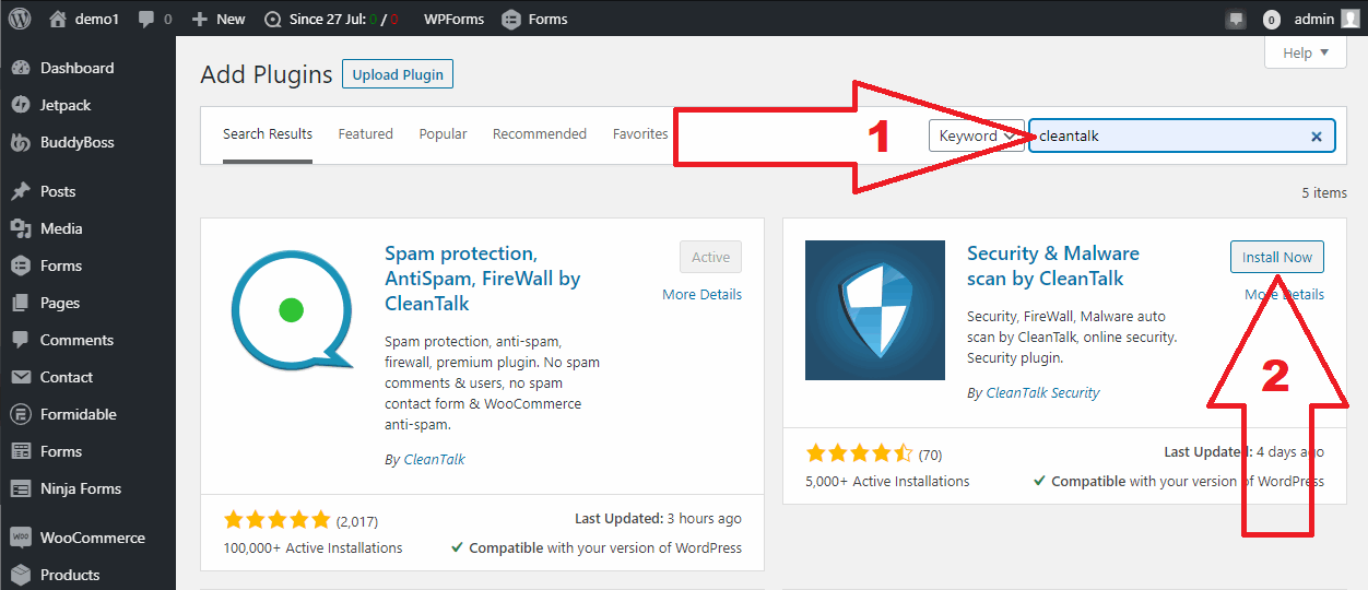 WordPress Security plugin install